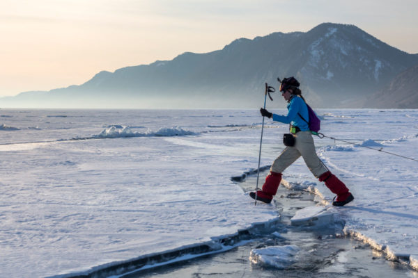 Переход через трещину на льду