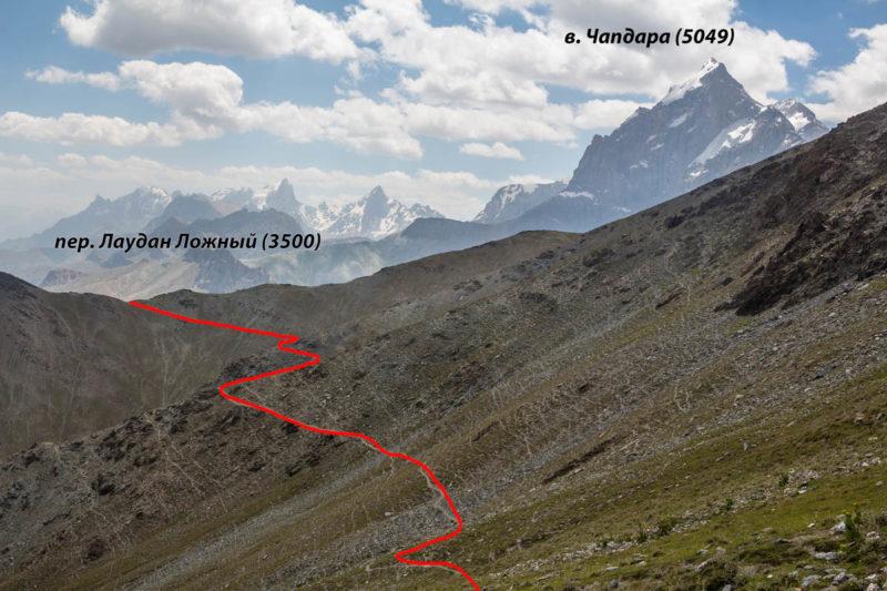 Вид на пер. Лаудан Ложный (3500) с пер. Лаудан (н/к, 3629)