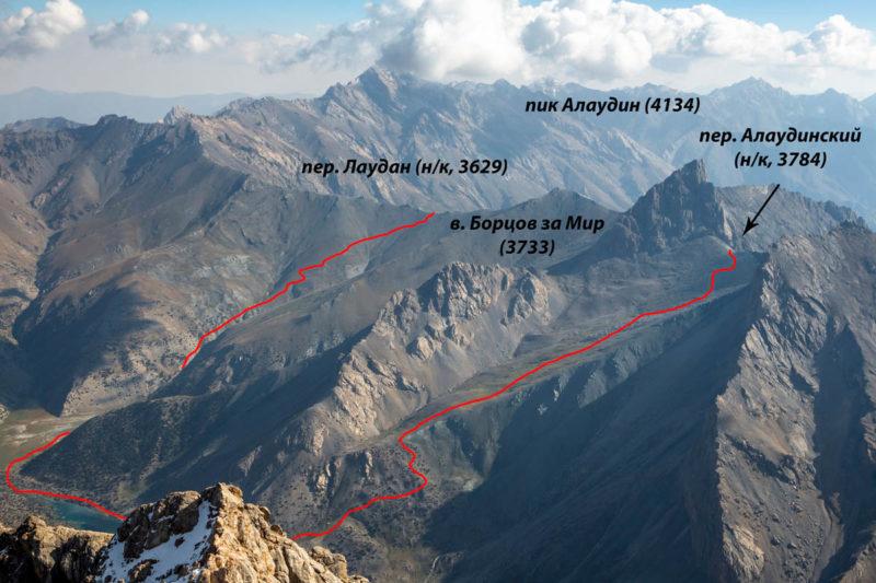 Западные склоны перевалов Лаудан (н/к, 3629) и Алаудинский (н/к, 3784) с гребня в. Темиртау