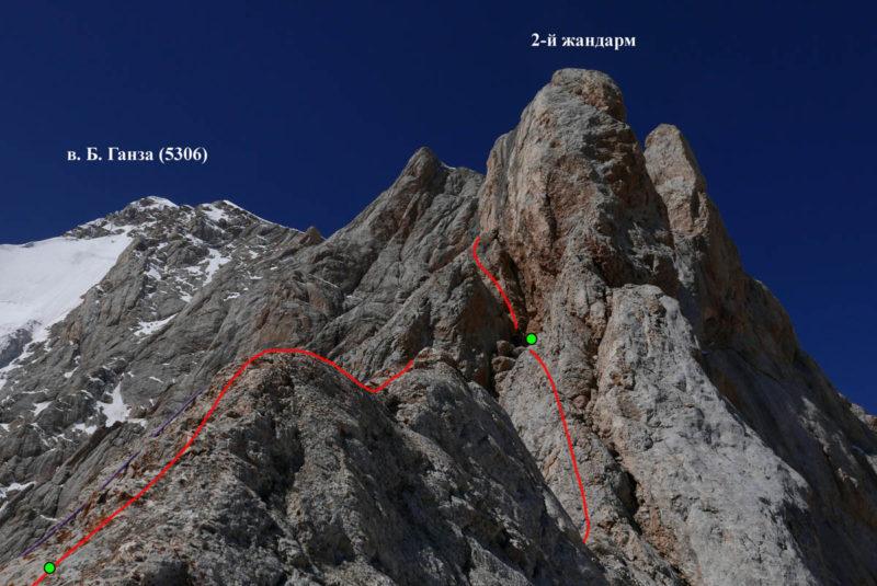 2-й жандарм с вершины 1-го жандарма. Показан путь группы и места крепления перил (6-я и начало 7-й веревки)