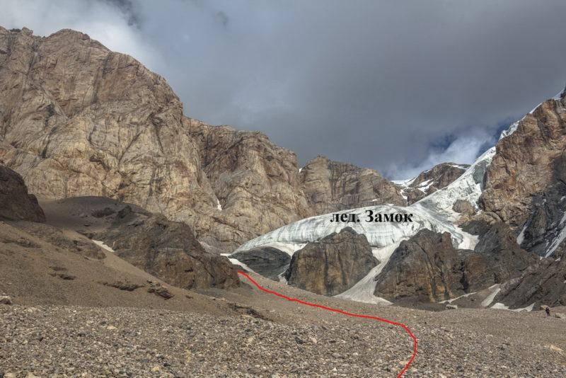 Язык ледника замок. Показан путь спуска