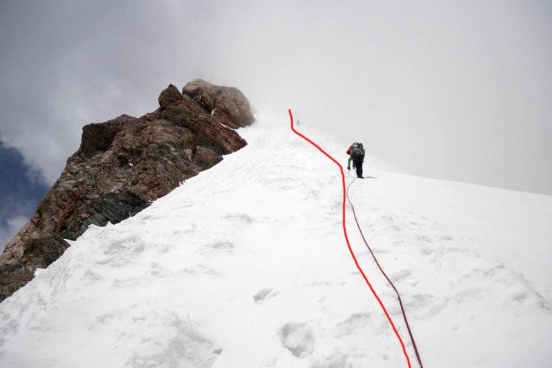По снежному гребню к вершине Чимтарги