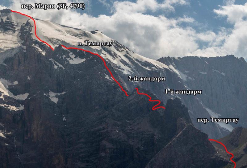Северный гребень в. Мария Узловая с востока