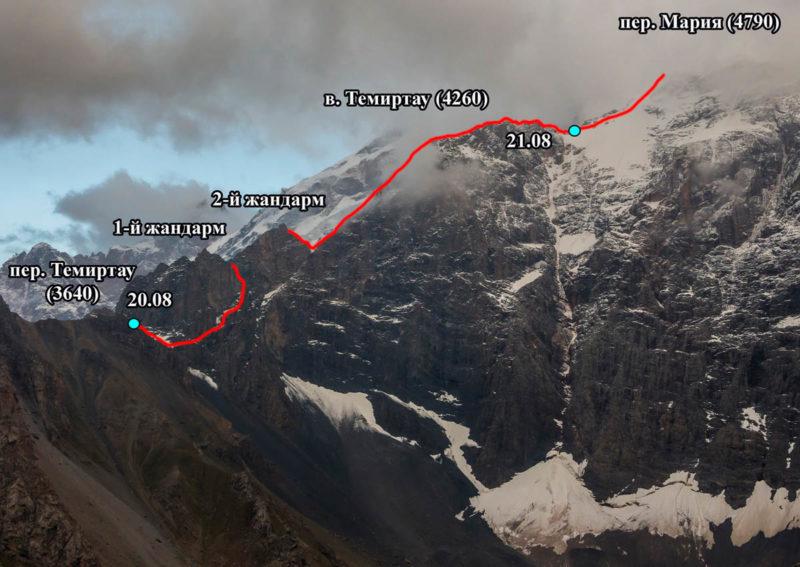 Северный гребень в. Мария Узловая с запада