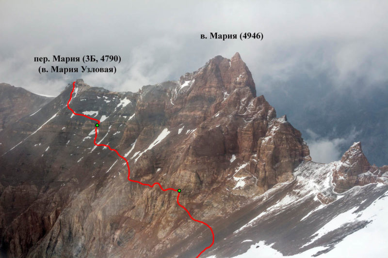 Южные склоны пер. Мария. Показан путь группы и места крепления перил