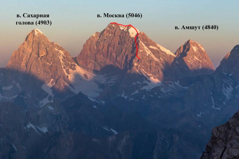 Пик Москва и окружающие вершины с востока
