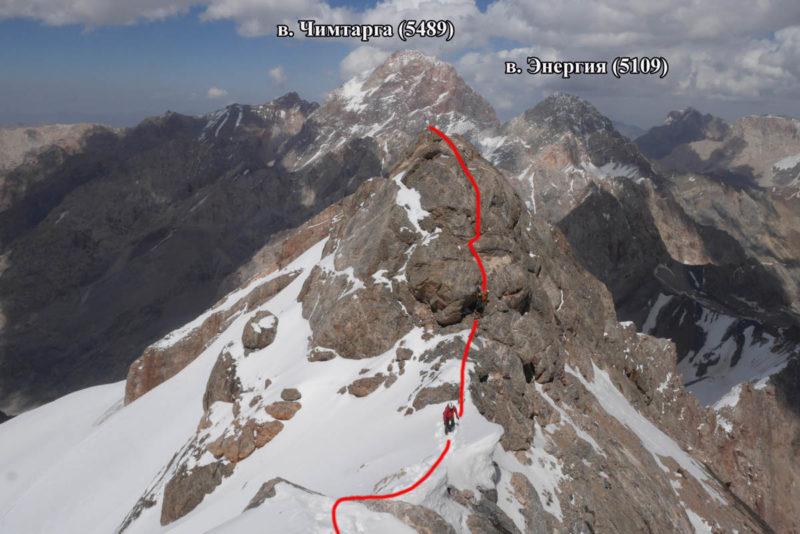 Скальный гребень перед вершиной п. Москва (5046)