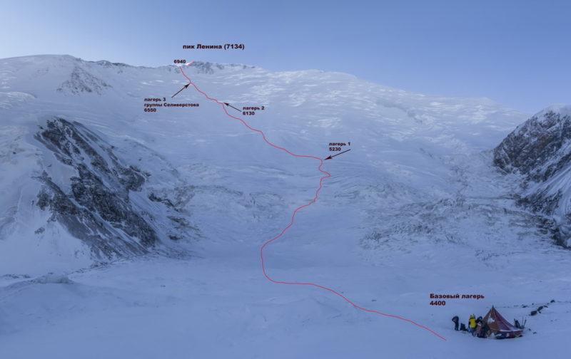 Маршрут восхождения на пик Ленина зимой 2016