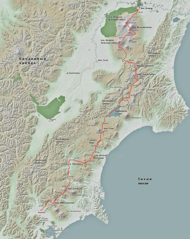 Схема маршрута Камчатка