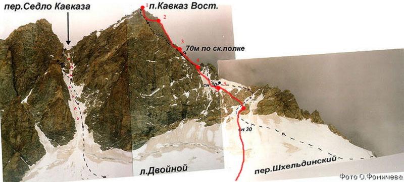 Путь спуска с пика Кавказа Вост. на лед. Двойной