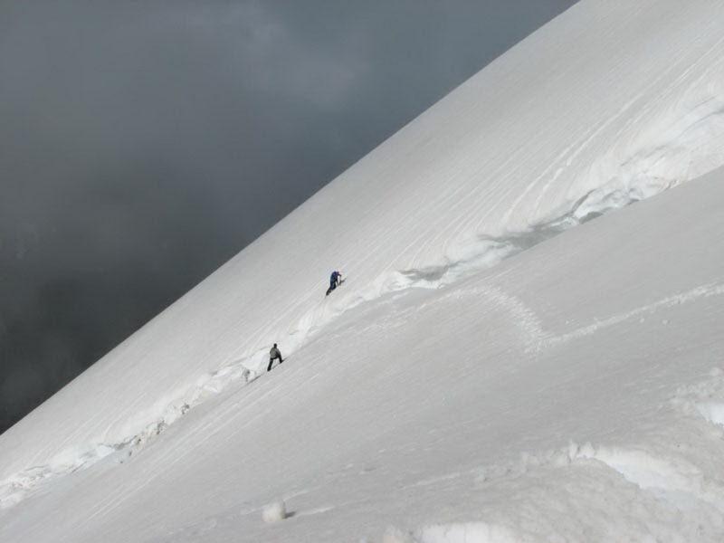 Подъем на вершину Вуллея в обход бергшрунда