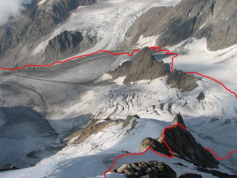 Ледник Шаурту с гребня в. Ортокара