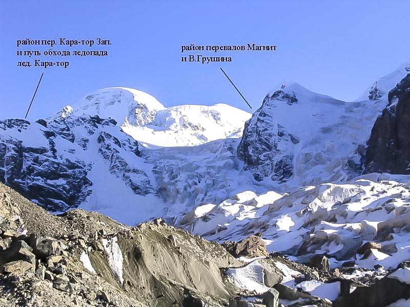 Вид с нижней части лед. Кара-тор