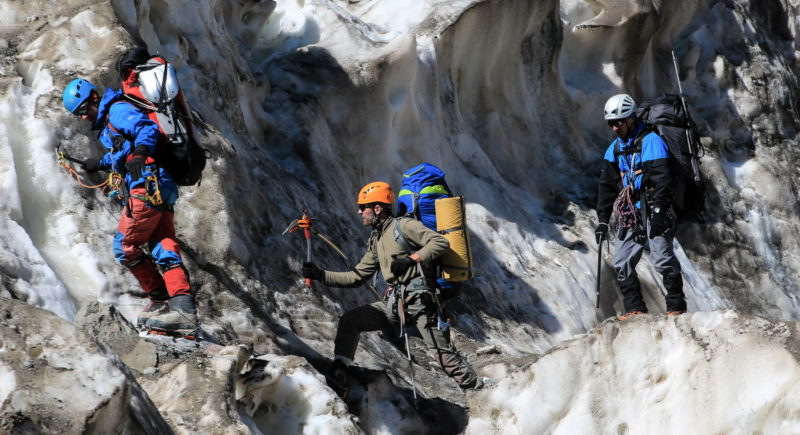 В ледопаде ледника Шагазы