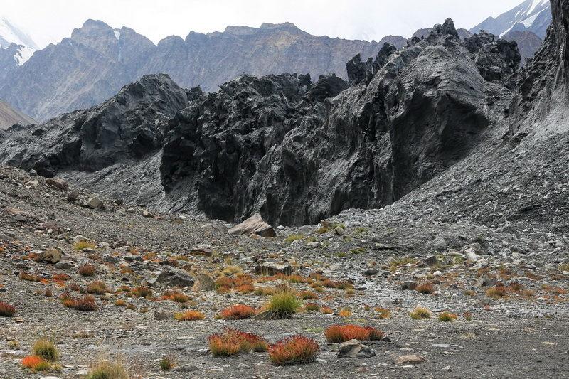 Вид из кармана на ледник Бивачный