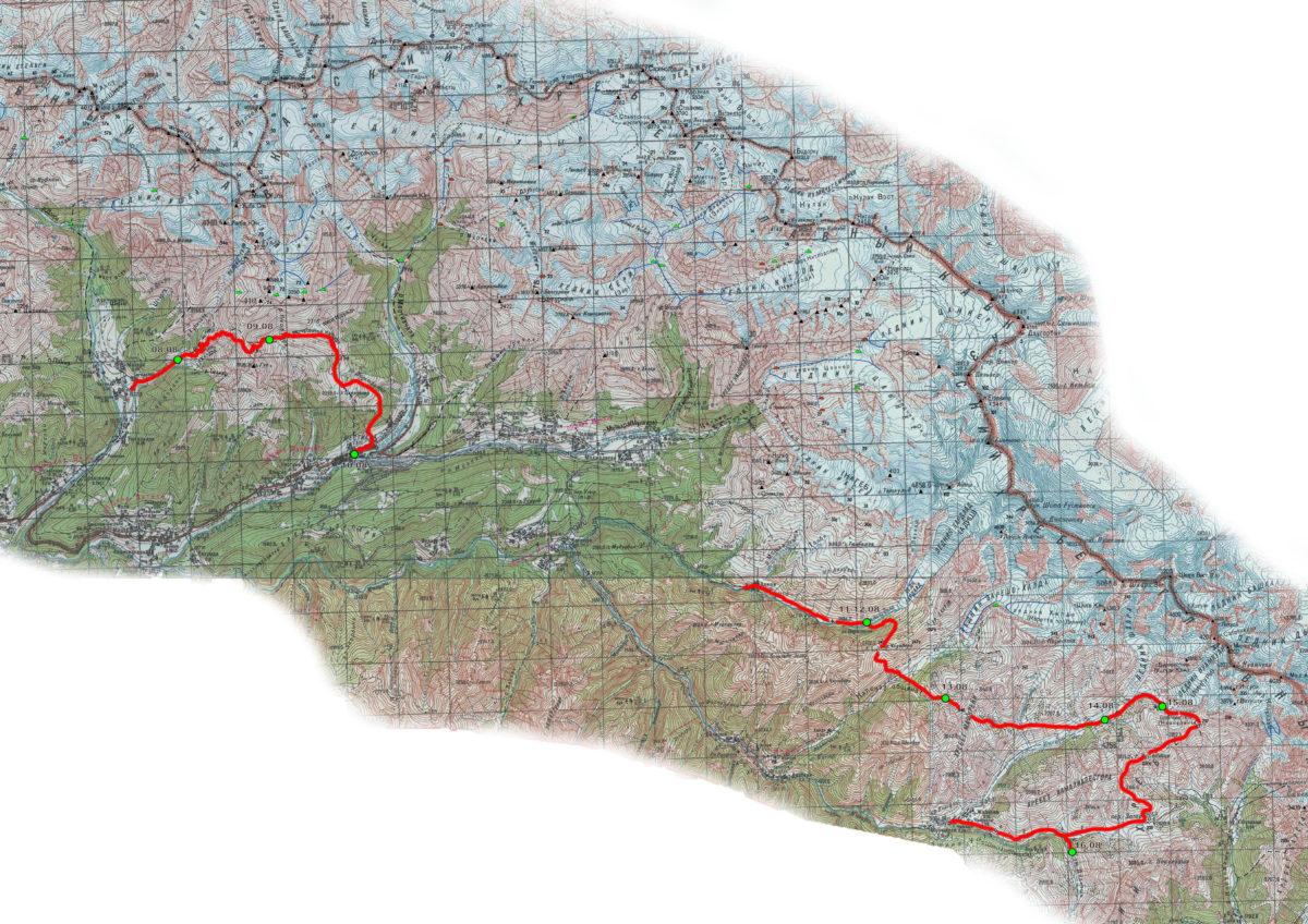 Карта с маршрутом по Сванетии