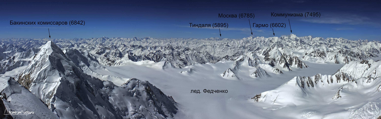 Панорама верховьев ледника Федченко